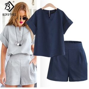 navy two piece set - top & shorts